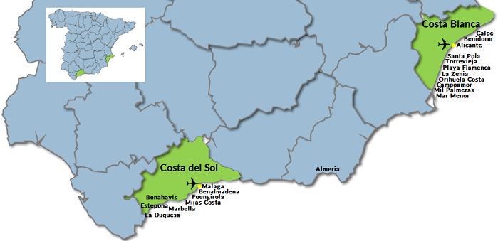 Karta Fran Alicante Till Torrevieja.Orter Pa Costa Blanca I Spanien Fastighetsmaklare Kopa Eller Salja