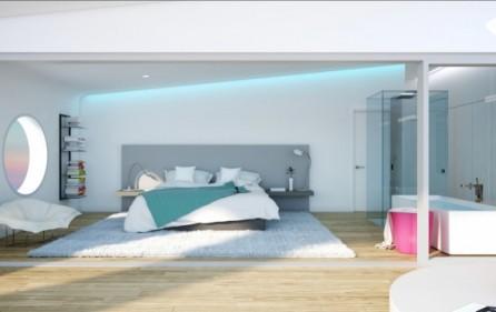 Sovrum i takvåning