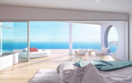 Utsikt från sovrum i takvåningar