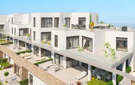 Olika terrasser i bostadsområdet