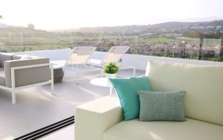 Exempel terrass med utsikt mot golf