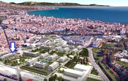 Framtida byggnationer i området – blå pil till salu