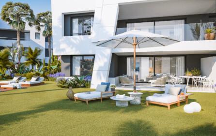 Exempel terrass med trädgård