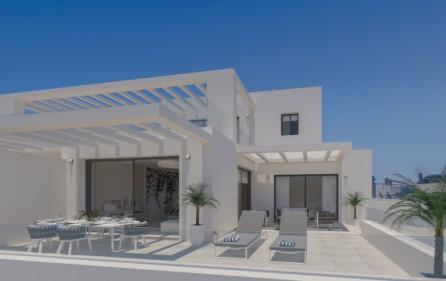 Exempel terrass mot sovrum och vardagsrum