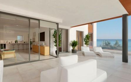 Terrass mot vardagsrum och öppet kök