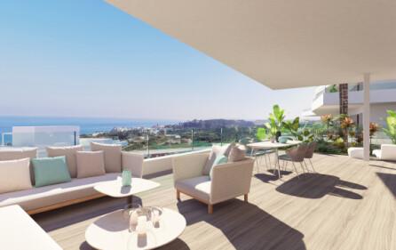 Exempel terrass i mellanplan med havsutsikt