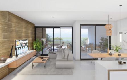 Vardagsrum med utgång mot terrass